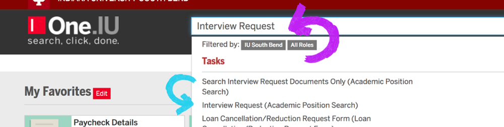 Interview Request search in one.iu